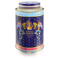 Round tin with the lion and unicorn design at the centre. The lid and edges of the tea caddy are in a gold, purple and light blue design