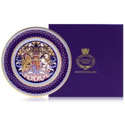 Side plate with a purple, gold and light blue design. With a lion and unicorn crest at the centre of the slide plate.