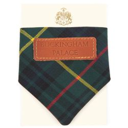 Hunting Stewart tartan dog bandana with leather tag with the words 'Buckingham Palace'