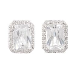 Buckingham Palace White Rectangle Earrings