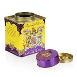 Purple and yellow cube Earl grey tea tin with the crest at the centre of the tin