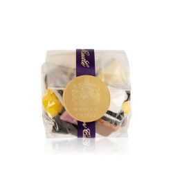packet of liquorice allsorts wrapped in a purple ribbon and sealed with a gold 'Windsor Castle' sticker
