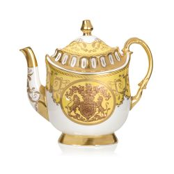 Limited edition yellow, white and gold coffee pot. The handle, base, and spout are all finished with 22 carat gold. As is the gold crest at the centre of the coffee pot