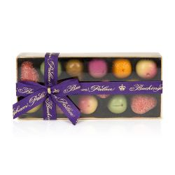 box of 12 marzipan fruits wrapped in a purple bow
