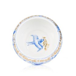 White pillbox with a blue floral garland and bird design and finished with gold detail and gold edge of the pillbox lid