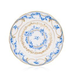 White side plate with a blue floral garland and bird design and finished with gold detail and gold edge of the side plate