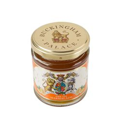 glass jar of fine cut marmalade with a Buckingham Palace royal crest label round the jar