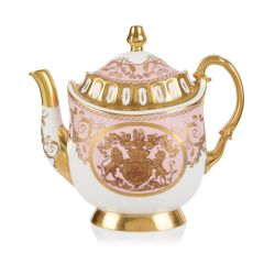 Limited edition pink, white and gold coffee pot. The handle, base, and spout are all finished with 22 carat gold. As is the gold crest at the centre of the coffee pot