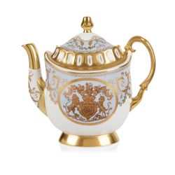 Limited edition pale blue, white and gold coffee pot. The handle, base, and spout are all finished with 22 carat gold. As is the gold crest at the centre of the coffee pot