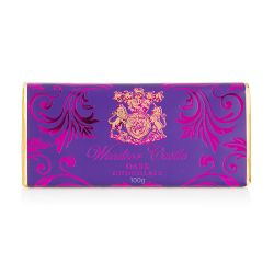 dark chocolate bar wrapped in a gold and purple wrapper with the crest and 'Windsor Castle' on the front