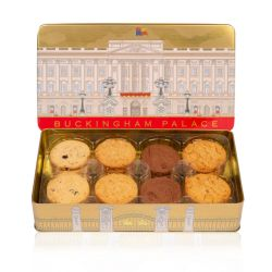 Open rectangular tin of assorted biscuits. On the lid is an illustration of the façade of Buckingham Palace