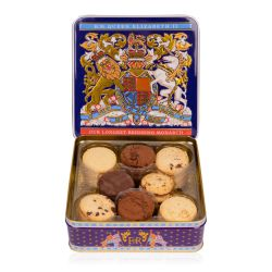 Purple open biscuit tin. Gold, blue, red and white crest on the front of the tin and the tin is open displaying a selection of chocolate chip and chocolate biscuits