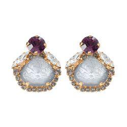 Vicki Sarge Purple Crystal Stud Earrings