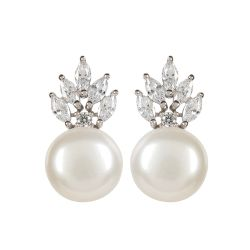 Crown and Pearl Stud Earrings