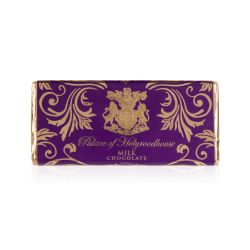 milk chocolate bar wrapped in a purple and gold wrapper printed with Palace of Holyroodhouse
