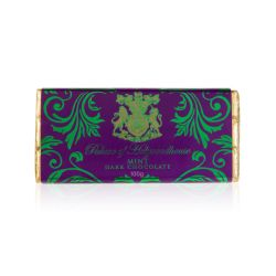 mint chocolate bar in a purple and gold wrapper printed with Palace of Holyrhoodhouse