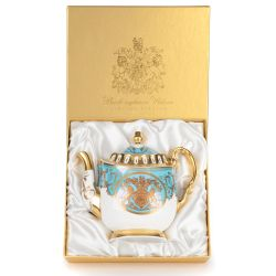 Limited edition turquoise, white and gold coffee pot. The handle, base, and spout are all finished with 22 carat gold. As is the gold crest at the centre of the coffee pot