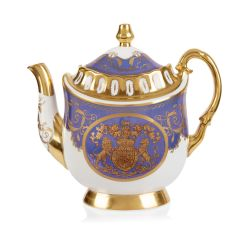 Limited edition purple, white and gold coffee pot. The handle, base, and spout are all finished with 22 carat gold. As is the gold crest at the centre of the coffee pot