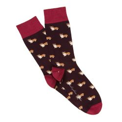 Burgundy Corgi Socks