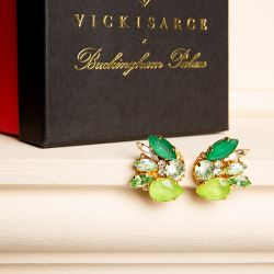 Different tones of green crystal earrings that would fit round the ear lobe.