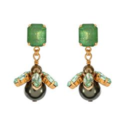 Vicki Sarge Green Round Drop Earrings