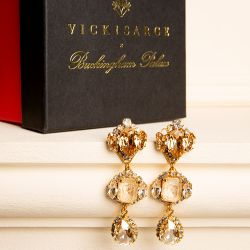 Three crystal drop earrings with a mixture of champagne coloured crystals