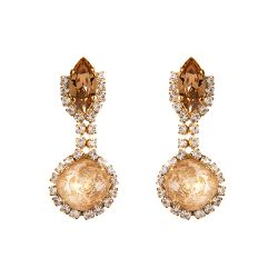 Champagne coloured crystal earrings surrounded by smaller clear crystals
