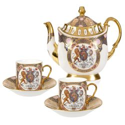 Chinoiserie Coffee Pot and Two Cup Set