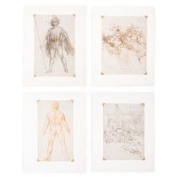 Leonardo da Vinci Set of Four Large Prints
