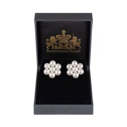 pearl earrings forming a flower design