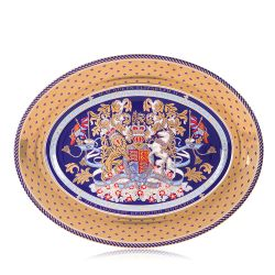 Oval charger plate with a detail gold and purple edge and an ornate purple, gold and light blue lion and unicorn crest at the centre. This is a Limited Edition piece of chinaware.