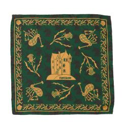 green silk pocket scarf featuring a castle at the centre and surrounded by bagpipes, thistles and unicorn motifs