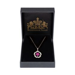Floral necklace with a pink central detail on a silver chain