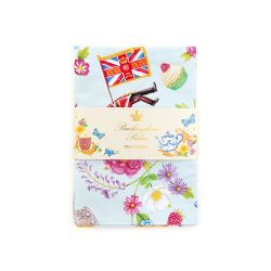 Blue tea towel printed with icons of celebration of summertime depicting royal events and ceremonies including guardsmen, corgis, tennis balls, teacups and teapots.