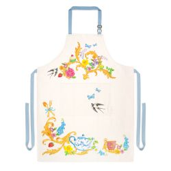 Cream apron printed with florals and other royal summertime symbols including teacups and teapots, butterflies, birds, strawberries and cupcakes.