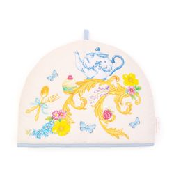 Tea cosy printed with florals and other royal summertime emblems