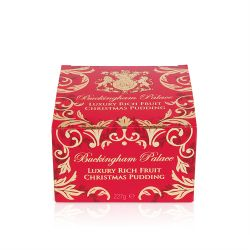 Buckingham Palace Christmas pudding crammed with cherries, sultanas, almonds and walnuts, presented in a opulent red and gold gift box.