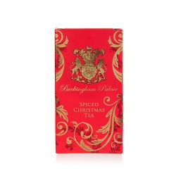 Biodegradable tea bags infused with Christmas spices, presented in an opulent Red and gold box.