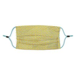 yellow printed face covering with adjustable straps