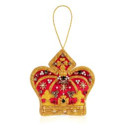 red velvet crown decoration embroidered with gold threads and colourful beads