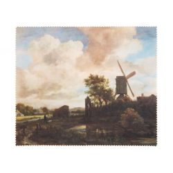 A lens cloth printed with Van Ruisdael, Evening Landscape: a Windmill by a Stream c.1650