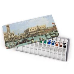This acrylic paint set depicts Canaletto's, The Bacino di San Marco on Ascension Day c. 1733-4. Includes 12 paints
