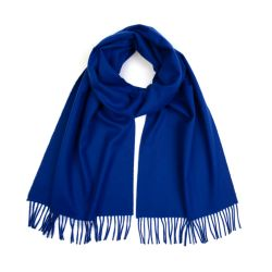 blue scraf with fringing
