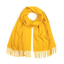 yellow scarf with fringing