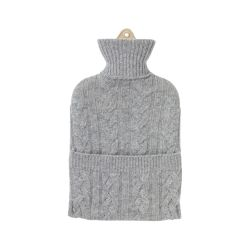 silver cable knitted hot water bottle