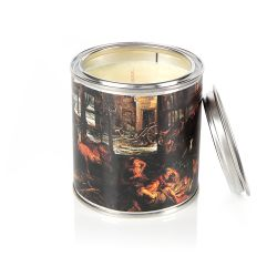 tin candle with the Winter: The Interior of a Barn printed on the exterior