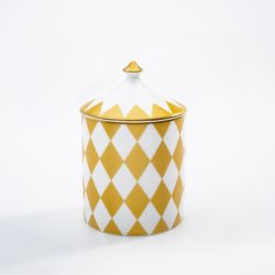 Fine bone English china candle pot printed with white and gold geometric, symmetrical print. The candle has a lid with a gold gilding finish.