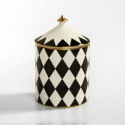 Fine bone English china candle printed in a black and white geometric and symmetrical pattern. The candle has a lid finished with a gold gilding finish.