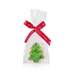 green christmas tree dog biscuit wrapped in a cellophane bag with a red Buckingham Palace ribbon