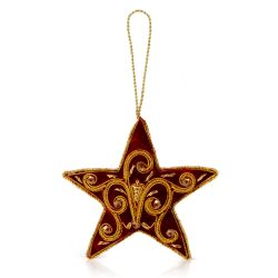 red velvet star decoration with gold embroidery detail inspired by the Gilebertus doors at St George's Chapel, Windsor Castle